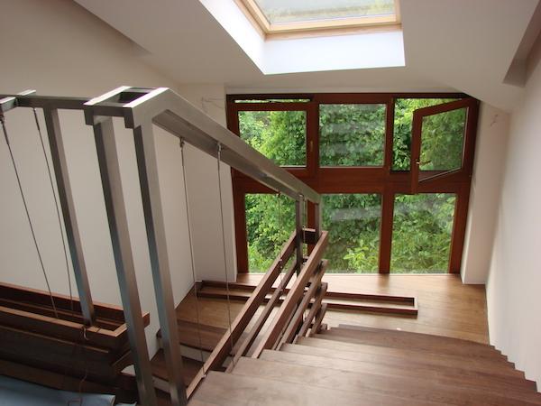 Balustrada de inox placa cu lemn