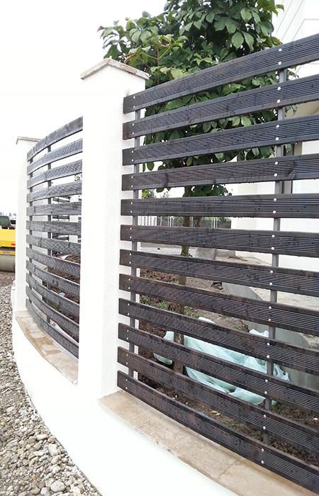 Gard de otel placat cu lemn